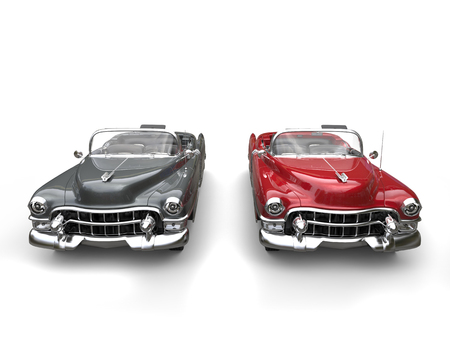 Gray and cherry red cool vintage cars with white wall tires - side by side