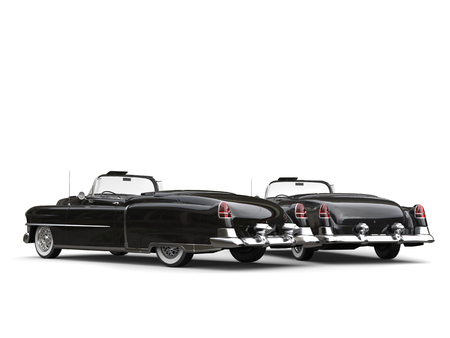Two awesome black vintage cars - taillight view