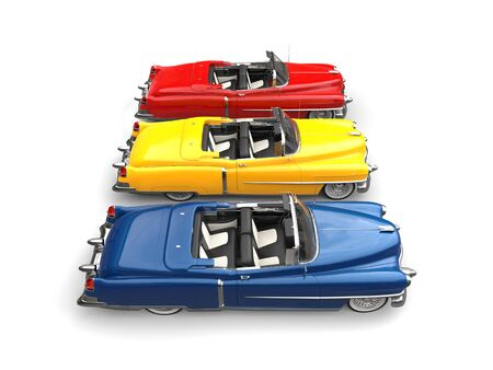 Cool vintage power cars - primary colors - side view Stock Photo