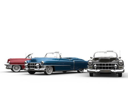 Vintage cars in various metallic colors Stock Photo