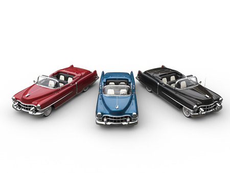 Red, blue and black awesome vintage cars in semi circle - top view