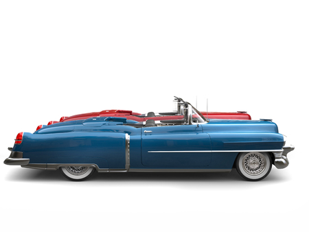 collectibles: Cornflower blue and cherry red vintage cars with white wall tires - side view