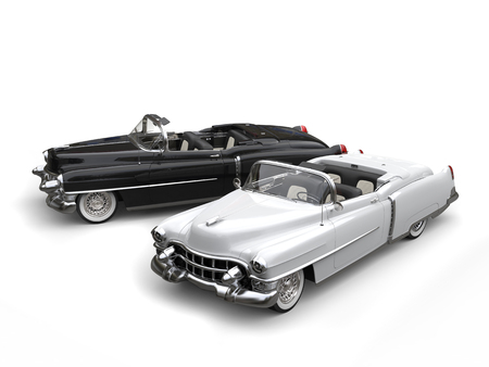 Two awesome black and white vintage cars - top view Stock Photo
