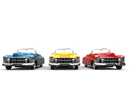 Three retro futuristic vintage cars - front view
