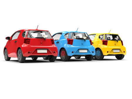 Modern compact urban electric cars in red, blue and yellow - back view