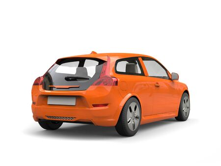 Modern family electric car orange - back view