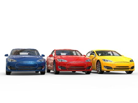 Colorful modern electric sports cars