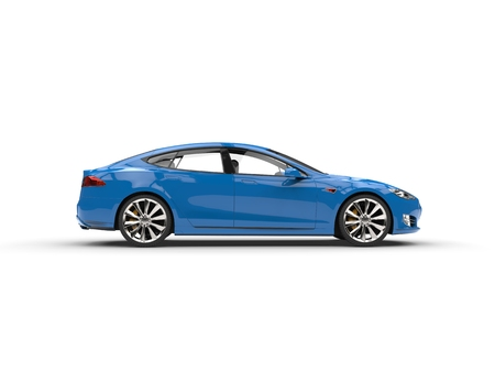 Cool blue modern electric business car - side view Stock Photo