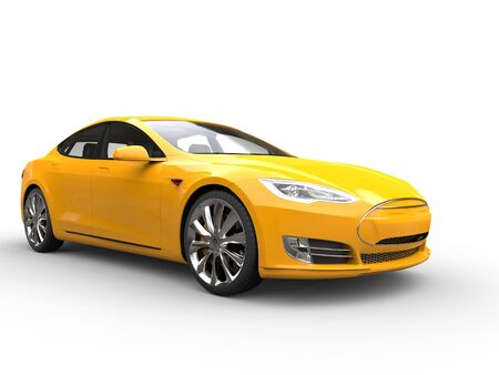 Great yellow electric sports car - front wheel view Reklamní fotografie