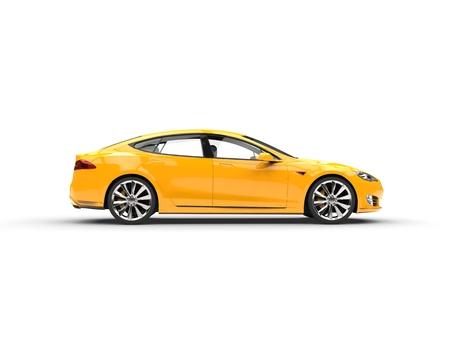car: Warm yellow modern electric fast car - side view