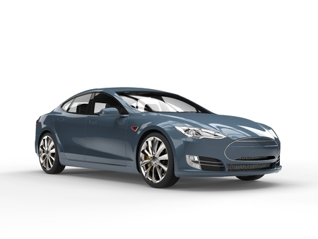 Business gray blue electric car Stock Photo