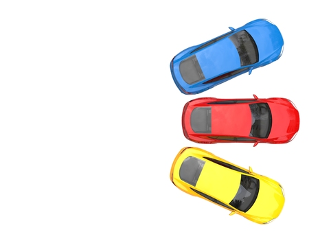 Colorful modern electric sports cars - top view Stock Photo