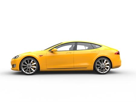 Grande voiture de sport électrique jaune - vue latérale Banque d'images - 73609421