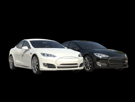 Black and white modern electric business cars - side by side
