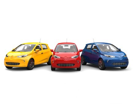 Modern electric eco cars in yellow, blue and red Stock Photo