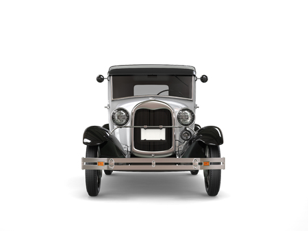 Cool oldtimer silver vintage car - front view Stock Photo