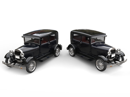 Two beautiful 1920s vintage cars - side by side - top view