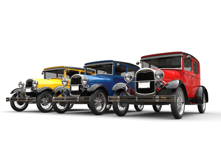Red, blue and yellow beautiful 1920s vintage cars