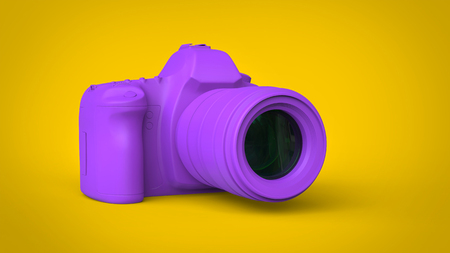 Modern purple photo camera - abstract 3D illustration