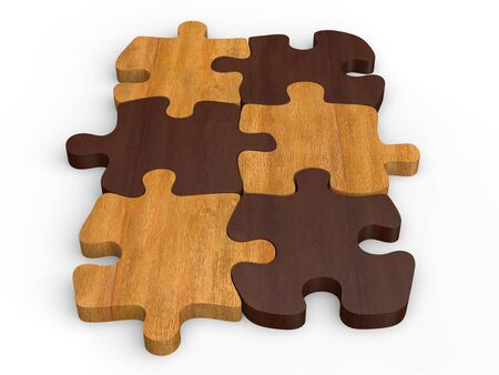 Dark and bright wooden jigsaw pieces - fit together Stock Photo