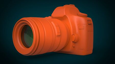 photography equipment: Orange photo camera on deep green background