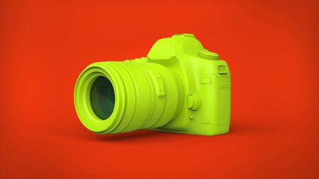 Warm green camera on red background Stock Photo
