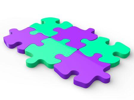 Purple and aquamarine puzzle pieces Stock Photo