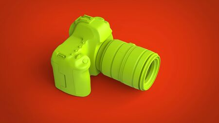 Lime green photo camera on redish background