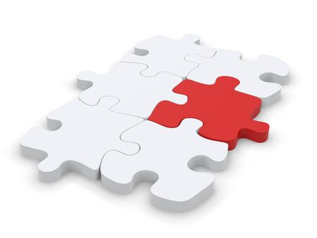 White puzzle with one red puzzle piece that stands out Stock Photo