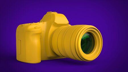 Rich yellow abstract modern photo camera