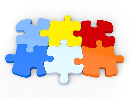 Colorful jigsaw puzzle pieces that fit together