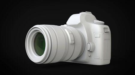 Solid white modern photo camera