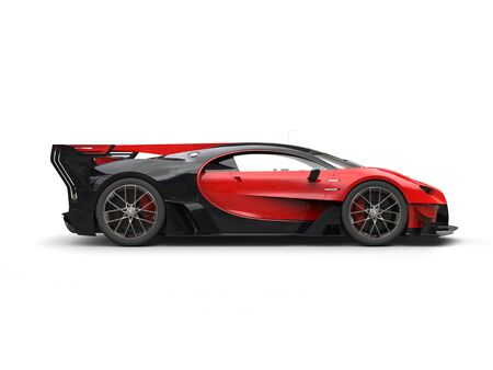 Powerful red super race car - side view Stock Photo
