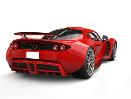 Scarlet red futuristic supercar - taillights view Stock Photo
