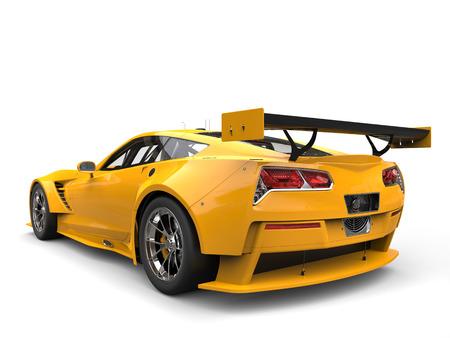 endurance: Sun yellow endurance race car - back view