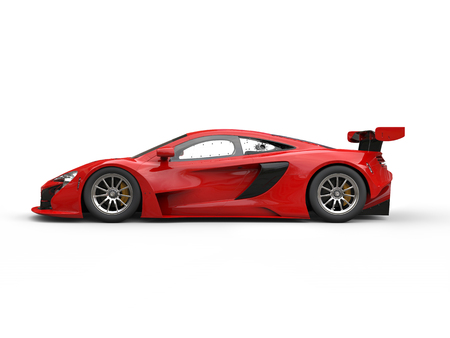 Shiny red modern race car - side view Stock Photo
