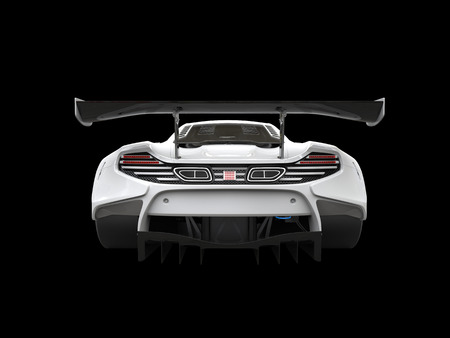 Snow white modern sportscar - back view