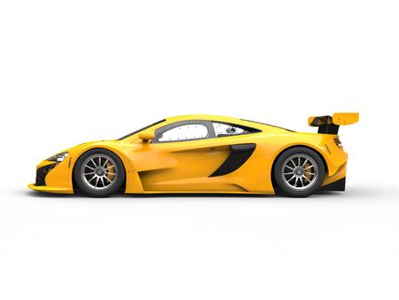 car: Yellow shiny modern race car - side view Stock Photo