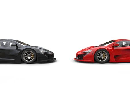 Black and red supercars facing each other - cut shot