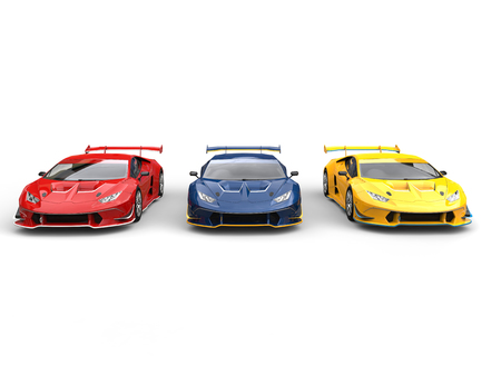 Awesome sports supercars - red, blue and yellow