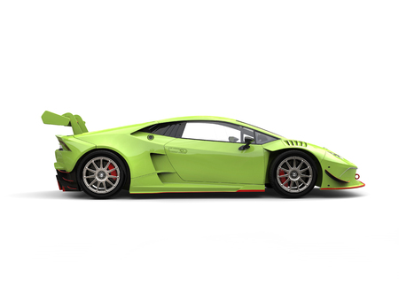 Poison green futuristic race sportscar - side view Stock Photo