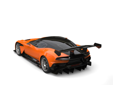 Black and orange modern sports super car - rear wing view