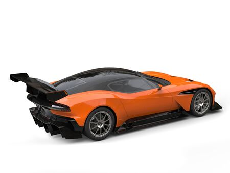 Black and orange modern sports super car - rear wing side view