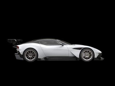 黒と白のモダンなスポーツ スーパーカーに黒背景に-側面図 写真素材
