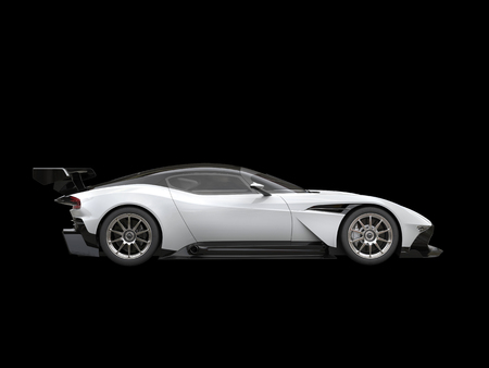 Black and white modern sports super car on black background - side view Stock Photo
