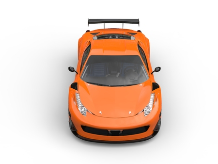 topdown: Bright orange sports car - topdown front view Stock Photo