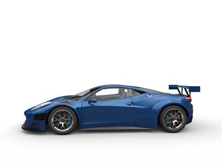Steel blue sport super car - side view