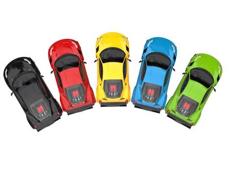 rim: Colorful super cars in semi circle - topdown view
