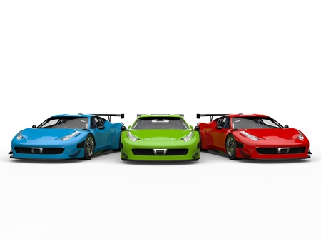 Red, green and blue modern luxury sportscars - front view