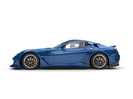 Deep blue modern fast sports car - side view